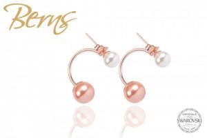 Cercei, 2 perle Swarovski, alb/rosegold, marime S
