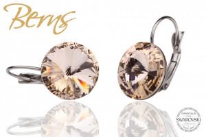 Cercei, cristale Swarovski, cu agatatoare, crem, diametru 14 mm