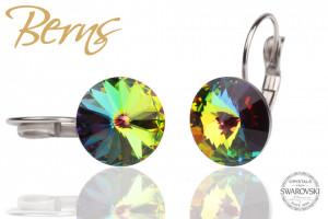 Cercei, cristale Swarovski, cu agatatoare, multicolor, 12mm