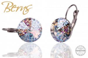 Cercei, cristale Swarovski, cu agatatoare, multicolor, cu model, diametru 14mm