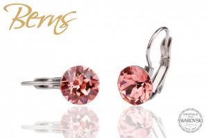 Cercei, cristale Swarovski, cu agatatoare, rosu, diametru 8 mm