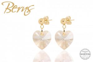 Cercei, cristale Swarovski, forma inima, cu lantisor auriu