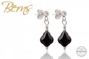 Cercei, cristale Swarovski, forma romb, negru, 10mm