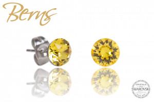 Cercei, cristale Swarovski, galben, diametru 6mm