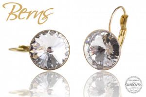 Cercei, cristale Swarovski, Gold, suflati cu aur 14k, cu agatatoare, 14mm