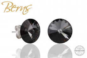Cercei, cristale Swarovski, negru, diametru 10mm
