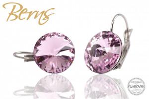 Cercei, cristale Swarovski, roz, cu agatatoare, diametru 14mm