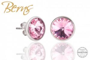 Cercei, cristale Swarovski, roz, diametru 10 mm