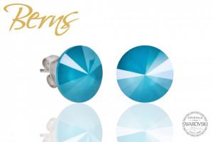 Cercei, cristale Swarovski, turcoaz diametru 12 mm