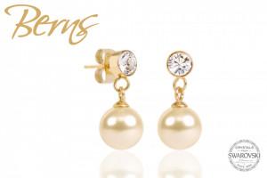 Cercei, perla + cristale Swarovski, crem/auriu, 8mm
