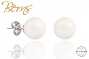 Cercei, perle Swarovski, alb, 10 mm