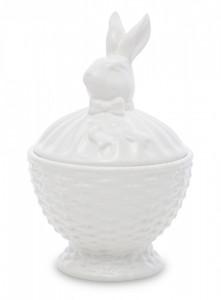 Cos de portelan cu capac iepuras, alb, 20x13x13 cm