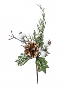 Crenguta artificiala, brad cu con si fructe albe, 21 cm