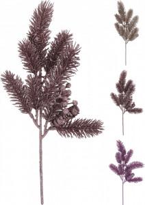 Crenguta artificiala de brad cu con, color, 37 cm