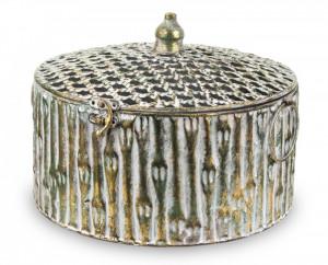 Cutie metalica cu capac, auriu antic, 18x25,5 cm