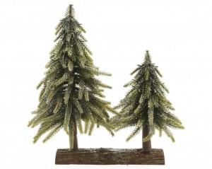 Decoratiune 2 brazi artificiali, baza lemn, 28x16 cm
