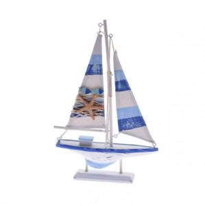 Decoratiune barca lemn, 31 cm