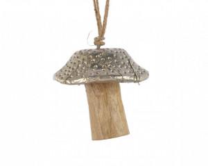 Decoratiune, ciuperca, lemn mango/metalic, 6x7 cm