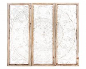 Decoratiune de perete lemn, crem antichizat, 90x100x3 cm