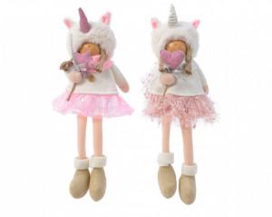 Figurina textila, copil unicorn, 34 cm