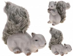 Figurina, veverita cu blana, 23 cm