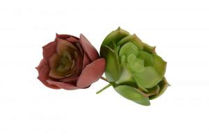 Floare artificiala, suculenta verde/rosu, 7x4 cm