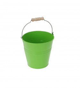 Ghiveci metalic verde, in forma de galeata, 20x19 cm
