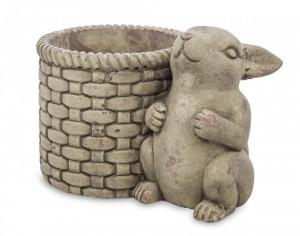 Ghiveci piatra cu figurina iepure, gri, 16x24x16x15.5 cm