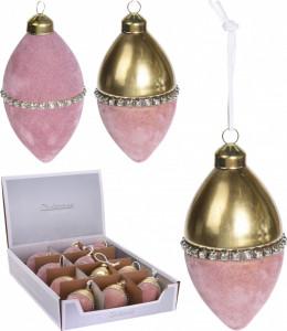 Glob catifea, forma picatura, auriu/roz, 13 cm