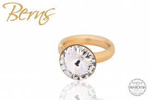 Inel otel inoxidabil, cristal Swarovski, auriu, diametru 17.5 mm