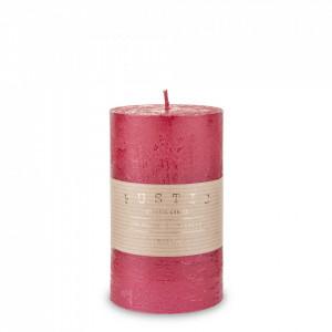 Lumanare handmade, Rustic, rosu, 14x7 cm