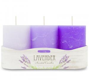Lumanare parfumata, aroma lavanda, 9x6 cm, 3 nuante