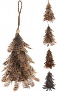 Ornamanet cu agatatoare, brad, pene, 16 cm