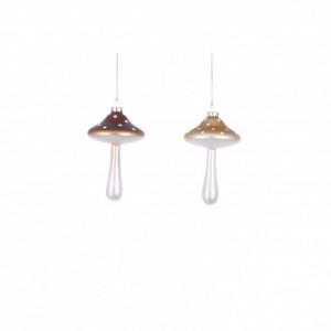 Ornament cu agatatoare, ciuperca, crem/maro, 12x7cm