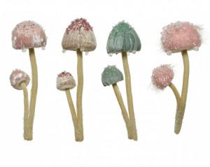 Ornament cu agatatoare, ciuperci catifea, roz/verde, 23 cm