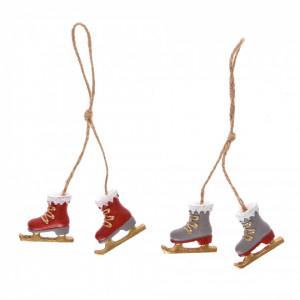 Ornament, set 2 patine cu agatatoare, 4 cm