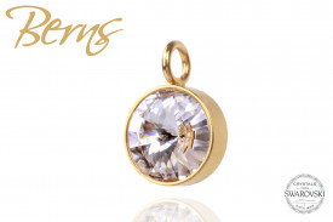 Pandativ, cristale Swarovski, margine aurie, suflata cu aur 14k