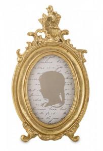 Rama foto ovala, auriu antichizat, 15,5 x 9 cm