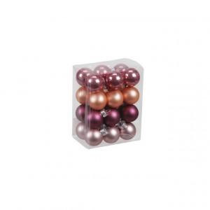 Set 24 globuri sticla, mix roz, 2.5 cm