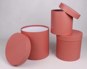 Set 3 cutii carton, cilindru, portocaliu dungi, 20 cm