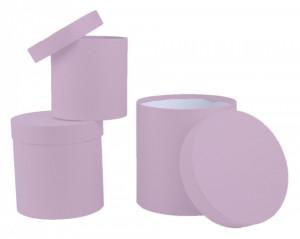Set 3 cutii-cilindru, lila, 20x20 cm