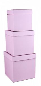 Set 3 cutii patrate, lila cu buline, 16x16 cm