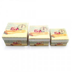 Set 3 cutii patrate, model Ceas