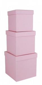 Set 3 cutii patrate, roz, 16x16 cm