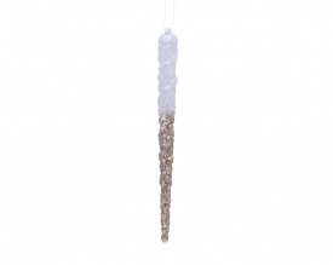 Set 4 turturi cu agatatoare, alb/auriu, 15 cm