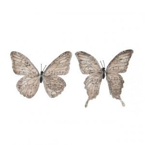 Set 6 fluturi cu clips, crem/roz, 11 cm