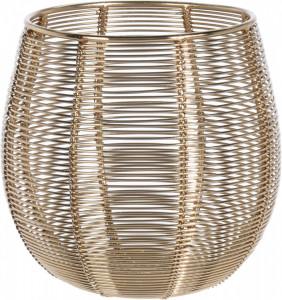 Suport de lumanare metalic, auriu, model fir