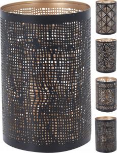 Suport metalic de lumanare, negru/auriu, 10x15.5 cm