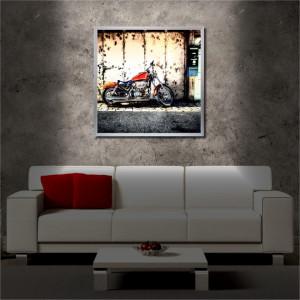 Tablou iluminat LED cu rama metalica Motorcycle (60 x 60 cm)
