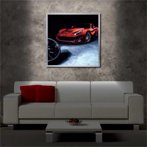 Tablou iluminat LED cu rama metalica Red Car (60 x 60 cm)